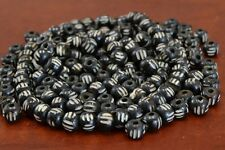 100 PCS BLACK CARVED STRIPE BUFFALO BONE BEADING BEADS 8MM #T-326