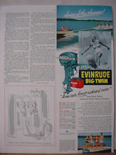 1953 Evinrude Big Twin Boat Motor Water Skiing Bruce Parker VTG Print Ad 10480