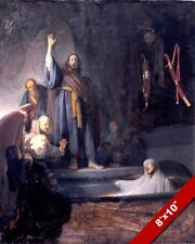JESUS RAISING LAZARUS FROM DEATH PAINTING CHRISTIAN BIBLE ART REAL CANVAS PRINT