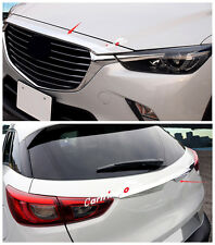 Chrome Front Hood + Rear Door Trunk Lid Cover Trim 2pcs For Mazda CX-3 2015 2016