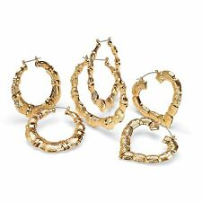 PalmBeach Jewelry Bamboo Style Hoop Earrings 3-Pair Set in Yellow Gold Tone