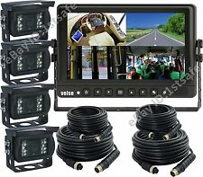 "9"" QUAD/SPLIT LCD BACKUP REAR VIEW REVERSE CAMERA SYSTEM FOR AG, TRUCK, RV"
