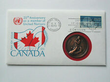 FDC Stamp & Medal CANADA 10¢ & MNH 15¢ 1945-1970 United Nations 25th Anniversary