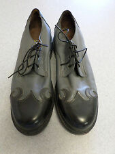 T.U.K. 2 gray and black leather flames oxfords. Men's 9 (uk 8)