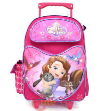 """Sofia The First 16"""" Large School Rolling Bag Wheeled Roller Backpack - Heart"""