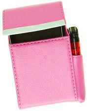 Lt Pink Cigarette Hard Case Leather Flip Top Lighter Holder Unisex New