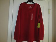 NWT MADE FOR LIFE SOFT V NECK RED MICRO FLEECE SIZE 1X NWT