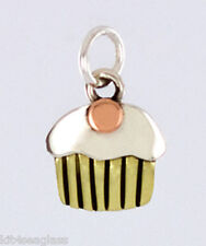 Far Fetched Tiny Cupcake CHARM or PENDANT Sterling Silver & Brass - Gift Box