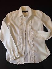 RALPH LAUREN Black Label Collection White Hand Knotted Lace Blouse 6