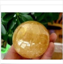 36-40mm Natural Citrine Quartz Crystal Sphere Ball Healing Gemstone+Stand