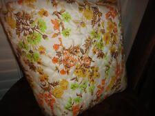 VINTAGE MID CENTURY RETRO BROWN ORANGE FULL QUILTED COVERLET BEDSPREAD 90X104