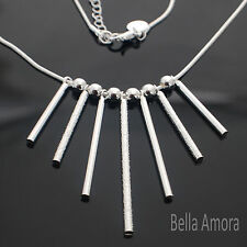 Elegant 925 Stamped Silver Pltd 7 Multi Bar Bead Pendant Necklace - UK New 150