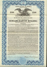 Howard-Barton Building   1929 Chicago Illinois real estate gold bond certificate