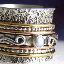 US 8 1/2 ~Chunky 3-Tone 7-Spin SilverSari SPINNER RING~ Sterling Silver & PEARL