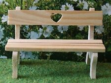 Love Heart Garden Bench, Dolls House Miniatures, Outdoor Furniture, 1.12 Scale