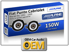 "Fiat Punto Cabriolet Front Dash speakers Alpine 3.5"" 87cm car speaker kit 150W"