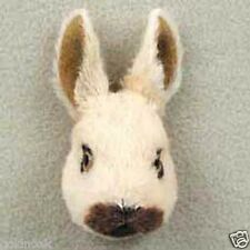 (3) LITTLE TAN, WHITE & BLACK RABBITS: -Fur Refrigerator Magnets