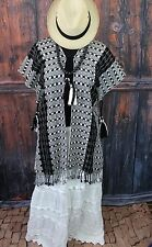 Hand Woven Black & White Big Tassels Poncho Jacket Chiapas Mexico Hippie Boho