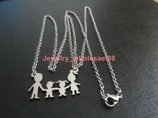 Stainless Steel Boy+Girl+parents Family Necklace Pendant Chain For Nice Jewelry