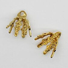 Filigree Bell Caps Pliable Prongs. Loop for hanging. Goldtone Pack of 100