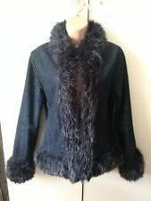 Vintage 1970's BOHO denim jacket, with faux fur trim - size 12