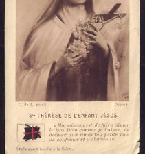 Old HOLY CARD Cloth RELIC touch body St.THERESE LISIEUX official Seal CARMELITES