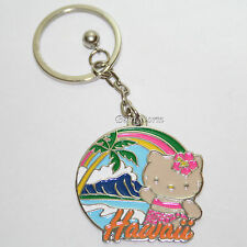 Hello Kitty Hula Girl HAWAII DIAMOND HEAD Metal Charm Key Ring Chain Keychain