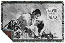 Gone With The Wind - Bw Poster Woven Throw Blanket - 57x35