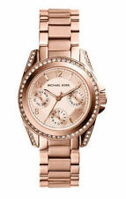 New Michael Kors Mini Blair Rose Gold Stainless MK5613 Women Glitz Chrono Watch