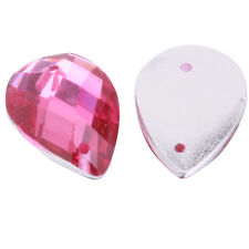 40x Rose Red Faceted Teardrop Charms Sew-on Resin Flatback Button Bead 14x10mm D