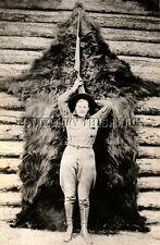 ANTIQUE HUNTING 8X10 REPRO PHOTO WOMAN GRIZZLY BEAR HUNTER