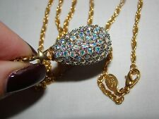 Joan Rivers Aurora Borealis Stones Magic Crystal Sparkly Egg Pendant Gold Chain