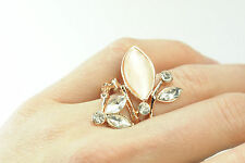 LADIES GOLD FLORAL CHUNKY BOLD RING BRAND NEW WHITE/PINK STONES (CL9)