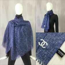 Rare NEW Chanel Blue CC Logo Extra Large Cashmere Silk Wool Shawl/ Wrap Scarf
