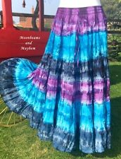 DIVINE LONG TIE DYE SKIRT PURPLE SIZE 18 20 22 HIPPIE PAGAN DRESS PLUS TURQUOISE
