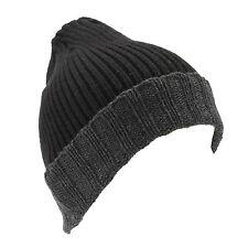 Croft & Barrow Men's Black Grey Trim Knit Winter Hat Beanie NEW $20