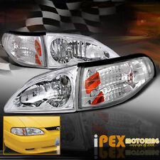 4PC COMBO: NEW 1994-1998 Ford Mustang GT V6 Cobra Euro Head Light+Corner Lamp