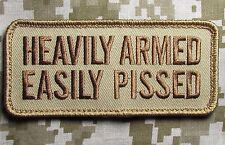 HEAVILY ARMED EASILY PISSED 2ND AMENDMENT DESERT BADGE VELCRO® BRAND PATCH