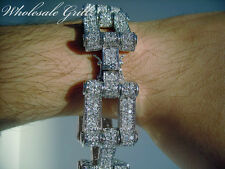 "NEW! $369 Mens 8.25"" 14K White Gold GP CUSTOM Simulated Diamond HipHop Bracelet!"