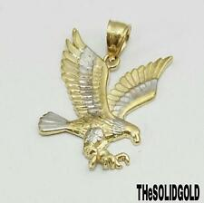 NEW 10K YELLOW GOLD TWO TONE EAGLE HIP HOP STYLE PENDANT MENS LADIES CHARM
