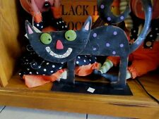 Sale ! good sz Metal Sculpture whimsy Black Halloween Cat Decor inside/outside