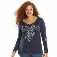 ROCK & REPUBLIC Womens Navy Blue Foiled Rose Nailhead Details V-neck Top Size 1X