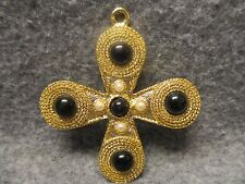 """Religious Gold Plated Consecration Cross Pendant Bead & Faux Pearl Accents 3"""""""