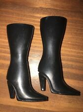 Barbie Black Squishy Rubber Knee High Motorcycle Riding Boots High Heels