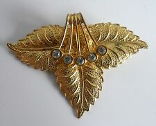 Vintage Gold Tone Diamante Leaf Design DRESS Clip
