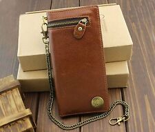 Mens Trendy American Indian Concho Long Leather Zipper Wallet With Chain Brown