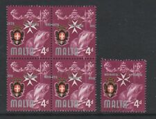 """Malta - 1965/70, 4d stamp - Block of 4 - With KNIGHTS OF MALTA""""  Misplaced - MNH"""