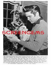 Elvis Presley Christmas press photo 1957 Army induction Memphis dog poodle RARE