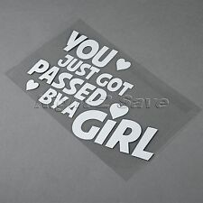 You Just Got Passed By A Girl w Heart Car Truck Window JDM Funny Decal Sticker