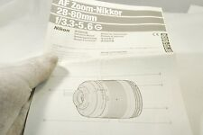 AF Zoom-Nikkor 28-80mm f3.3-5.6 G Instruction Manual 7219105